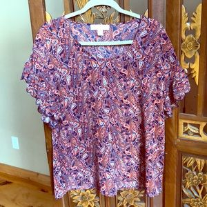 Michael Kors Paisley Top w/ Ruffled Sleeves Size M